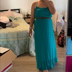Turquoise Forever 21 Belted Maxi Dress | Size M